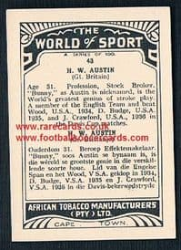 1930's South African Tobacco Cape Town World of Sport Bunny H.W. Austen tennis card 43
